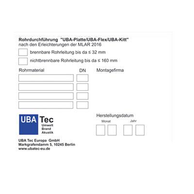 Kennzeichnungsschild UBA Platte und UBA Flex